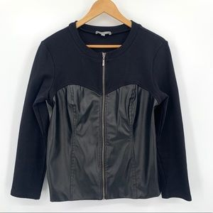 NY Collection faux leather and knit zip up top